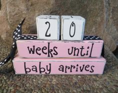 Wooden 42 Weeks Until Baby Arrives Baby Boy by AshtonandAshley