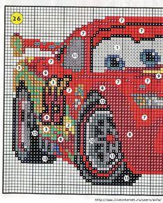 Cars - Lighting Mc Queen 1 of 2 saved Disney Cross Stitch Patterns, Cross Stitch For Kids, Cross Stitch Baby, Counted Cross Stitch Patterns, Cross Stitch Charts, Cross Stitch Designs, Cross Stitch Embroidery, Stitch Character, Stitch Cartoon
