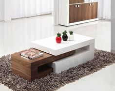 White high gloss Spray Paint MDF Modern Low Coffee Table