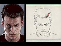 dibujo del rostro agachado realista (escorzo de frente) - YouTube