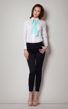 Figl Mint Tie White Blouse