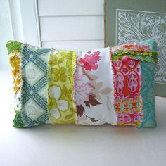 patchwork pillow fabric scrap pillow bohemian by tracyBdesigns