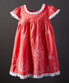 Look what I found on #zulily! Orange Flamingo Embroidered Dress - Infant, Toddler & Girls by Powell Craft #zulilyfinds