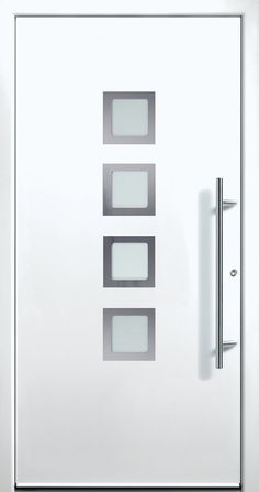 Contemporary and modern entry doors by Groke. A superior alternative to fiberglass, steel or wood doors. Modern Entry Door, Modern Exterior Doors, Entry Doors, Entrance, Iron Windows, Iron Doors, Modern Windows And Doors, Modern Driveway, Laundry Rooms