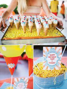 vintage ice cream birthday party & ice cream cone cake pops