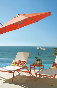 Protect your guests from the sun's heat and harmful rays with this cantilever umbrella. Cantilever Umbrella, Summer Dream, Summer Time, Seaside Beach, Sand And Water, Patio Umbrellas, Coastal Homes, Outdoor Furniture, Outdoor Decor