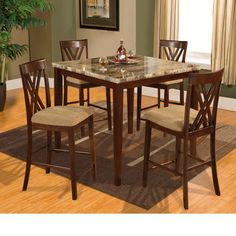 Hazelwood Home Counter Height 5 Piece Dinette Set