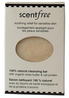 Scent Free 100% Natural Hand Made Soap. Moisturizing bar soap with organic shea butter and oat protein. Good for eczema & psoriasis. Does not contain essential oils - confirmed by company. Available @ ScentualsBodyCare.com (Coquitlam, BC) #unscented #scentfree #fragrancefree #organic