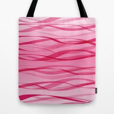 Pink Waves Tote Bag by patterndesign - $22.00