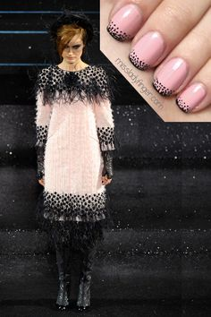 """""""MANICURE MUSE: Chanel Couture Fall '11 (Part Deux)    Another look from the Chanel Couture show. This simple new take on a French manicure makes for a very chic statement. Used here: Ballet Slippers by Essie and a black nail art brush."""""""