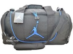 Nike Air Jordan Duffel Gym Bag Basketball Tote Black Royal Blue Duffle Shoe  Men e9a38399591d3