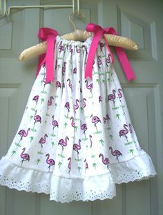 Cotton Pillow Case Dress in Cute Pink Flamingo by GreeneStitches