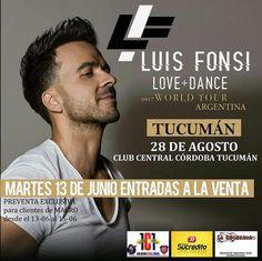 28/Agosto - Tucumán  #Tucuman #LuisFonsi #Evento #PasaLaData #QueHacemosSalta #Show #Prensa Toda la info que necesitas la podes encontrar aquí  http://quehacemossalta.com/