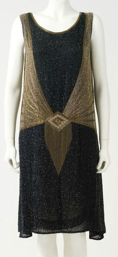 Evening Dress: ca. 1923-1928, French, beaded silk.