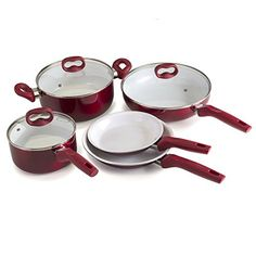 Ecolution Bliss 8Piece NonStick Cookware Set  PFOA PTFE  Lead Free  Candy Apple Exterior  White Interior * You can find more details by visiting the image link.-It is an affiliate link to Amazon.