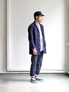 Denim, work jacket, chore coat, indigo, navy, blue