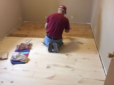 New England white pine staining with Minwax Fruitwood. Farthest boards have been wiped off. Pine Wood Flooring, Pine Floors, Drop Zone, Minwax, Cottage Ideas, Cabins In The Woods, House Projects, Tiny House, Paint Colors