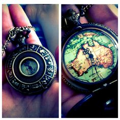 Collecting a range of pendants and necklaces. One of my first, a pocket-watch with a zodiac print. It's beautiful.