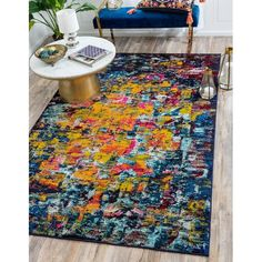 Unique Loom Guell Estrella Area Rug - multi - 3 x 3 Brown And Blue Living Room, Navy Living Rooms, Rugs In Living Room, Barcelona, Best Leather Sofa, Yellow Curtains, Rectangle Area, Yellow Area Rugs, Round Rugs