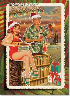 A warm Christmas Season - doesn't mean you are not in the Christmas Spirit!!! Tiki Christmas Card - Retro Christmas Cards