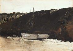 © Andrew Wyeth www.andrewwyeth.com Teel's Landing. 1953 watercolour on paper. 19 x 28 in. (48.26 x 71.12 cm.)