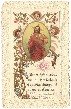 Antique French Lace Holy Card ... Come To Me All Who Are Weary