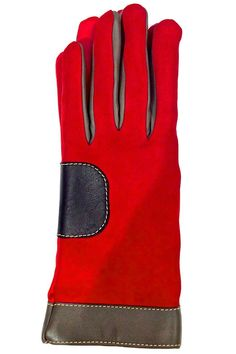 Solid Red Lamb skin Leather Gloves color block with rich dark brown leather and contrasting top stitchings details. Fully lined in merino wool to keep your hands warm. These gloves not will look very stylish with your coat. Available in size 7 only.   Red Colorblock Leather Glove by Santacana Madrid. Accessories - Winter Accessories Portland, Oregon