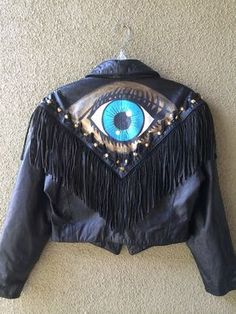 Vintage evil eye leather fringe jacket on Etsy, $130.00