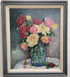 Beautiful vintage 1986 still life oil on board roses by OldParisVintage on Etsy