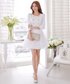White+Button+Down+Double+Breasted+Designer+Dress