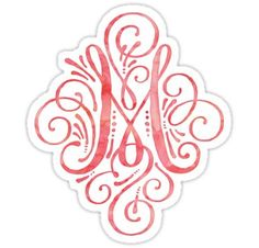 Monogram M Watercolor Typography Sticker