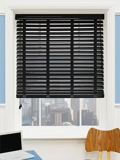 Gloss Midnight Black & Obsidian wooden blind with tapes - this blind is a…