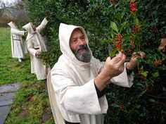 Pluscarden Abbey ,Scotland,monks preparing for Christmas. The monks have been picking holly, rehearsing music and ceremonies, and making sure their candles are ready for burning on Christmas day. ""