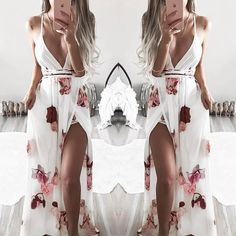 Low Cut Crisscross Open Back High Slit Floral Maxi Dress