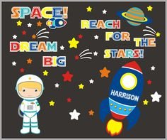 Monogrammed Nursery Decals - Space Astronaut Decal - Rocketship Decal - Planets and Galaxy Decals - Name and Quote Wall Decals - x Nursery Artwork, Nursery Wall Decals, Nursery Room, Nursery Monogram, Astronauts In Space, Girl Themes, Removable Wall Decals, Wall Quotes, Colorful Backgrounds