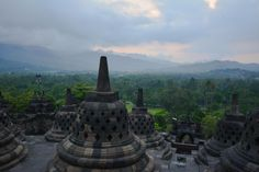 Just before sunset at the magnificent Borobudur Temple Java Indonesia #travel #photography #nature #photo #vacation #photooftheday #adventure #landscape