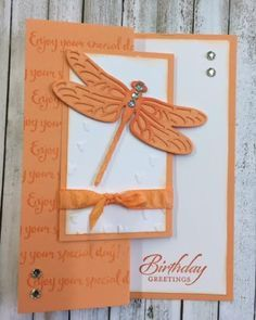Dragonfly Dreams, Detailed Dragonfly Thinlits, Falling Petals EF, Peekaboo Peach 2016-2018 In Color Ruched Ribbon, Rhinestones