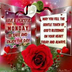 Have a peaceful Monday everyone.. God Bless.