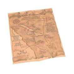 Piraten schatkaart. De schatkaart is ongeveer 22 x 30 centimeter (9x12 inch). De tekst op de schatkaart is Engels, bovenaan staat in grote letters Ye Olde Treasure Map en de kaart bevat o.a. locaties als Sea of lost souls en de Shipwreck islands.