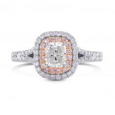 White & Pink Halo Diamond Ring, SKU 3496R (1.6Ct TW)