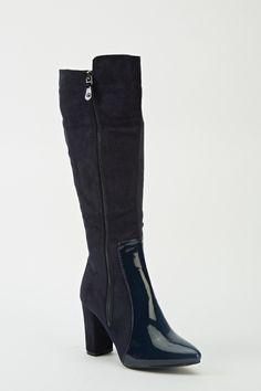 Zip Detail Suedette Heeled Boots