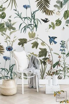 Spring Botanical wallpaper Removable wallpaper Non-woven Traditional. Botanical Wallpaper, Bird Wallpaper, Paper Wallpaper, Botanical Decor, Blue Wall Decor, Flower Wall Decor, Tapete Floral, Mural Floral, Wallpaper Fofos