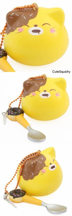 Kawaii yellow cat squishy dipped in chocolate!