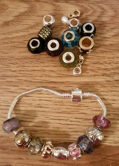 Bracelet wide hole beads with extra beads and magnetic clasp