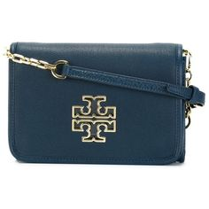 Tory Burch Britten Cross Body Bag ($452) ❤ liked on Polyvore featuring bags, handbags, shoulder bags, blue, leather crossbody purse, blue shoulder bag, crossbody purse, leather purse and blue leather purse