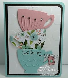 Another Cups and Kettle card using the same layout as the lasttwo. These cups are so fun to play with and accessorize. The Framelit set has SO many pieces!Cardstock: Pool Party, Whisper White, E