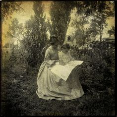 +~+~ Antique Photograph ~+~+   Mother reading with her daughter.