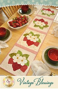 "Vintage Blessings Table Runner - June Pattern: Decorate your home all year long with a beautiful Vintage Blessings Table Runner by Jennifer Bosworth of Shabby Fabrics. This pattern is for the June design. Table Runner measures approximately 12 1/2"" x 53""."