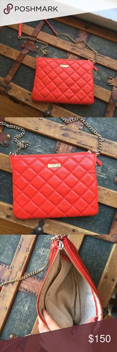 Kate Spade Leather Quilted Crossbody Excellent condition. Red and gold. 100% Leather kate spade Bags Crossbody Bags