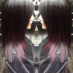 Colour and cut by Amber Bird for Michael John Hair Artwork ltd in peterborough. Purple rain hair ombre colour. Black roots